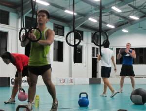 CrossFit WOD: Push the van, Sled Pull, Ring Dips!